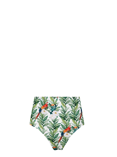 High Waist Bikini Bottom - Parrots in Bloom/Ivory with Black Dots