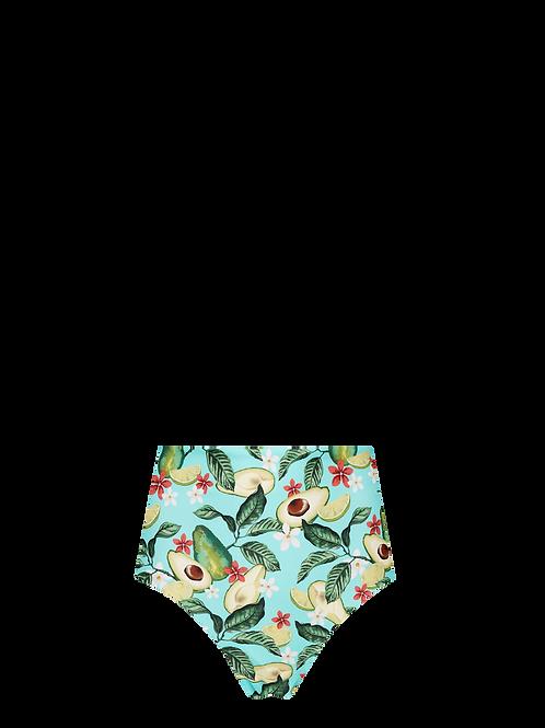 High Waist Bikini Bottom - Avocado/Fuschia & Orange Dots