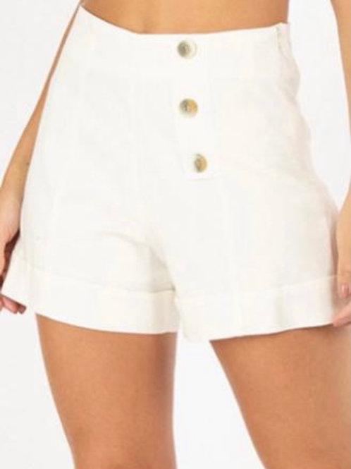 Linen High-Waisted Shorts - Buttoned