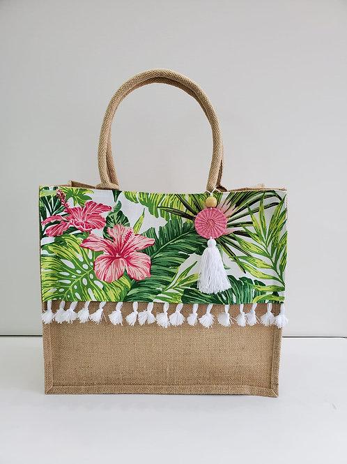 Hibiscus White Tropical Beach Bag - Medium