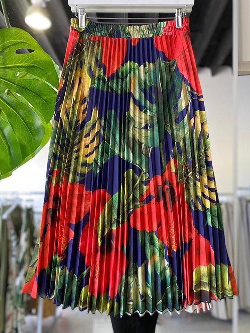 Pleated Skirt - Hibiscus Print Blue
