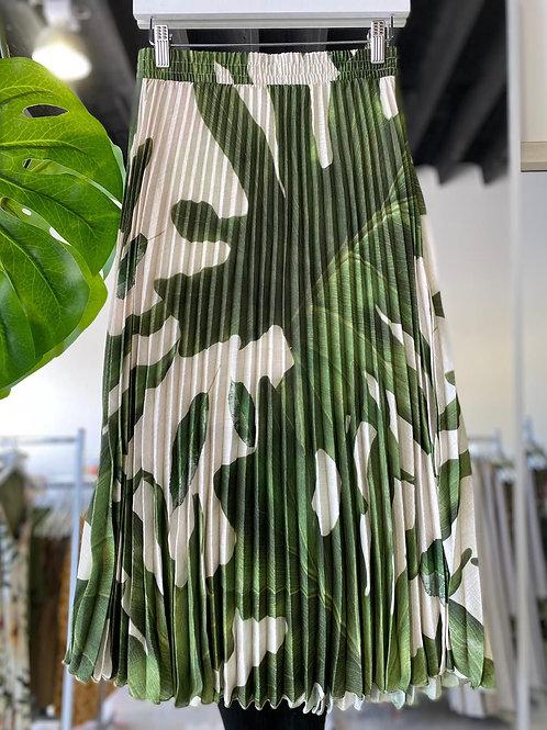 Pleated Skirt - Green Leaf Pattern