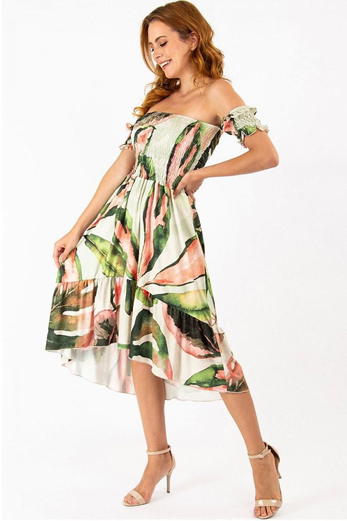 High-Low Dress - Monstera Print