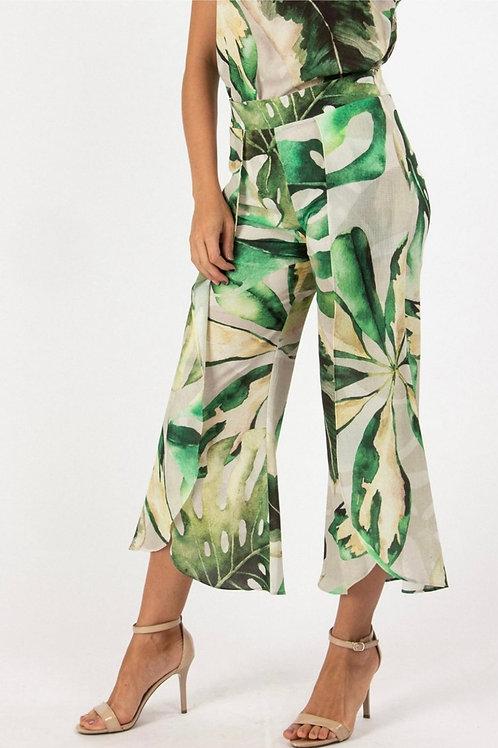 Capri-style Pants - Monstera Print