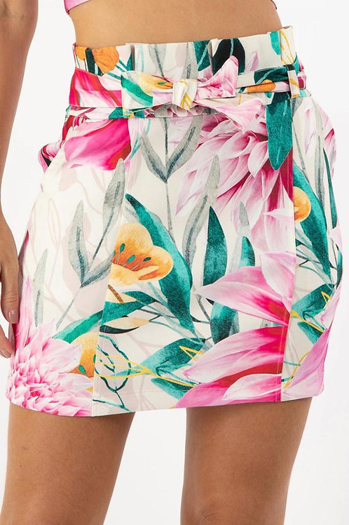 Waist-tie Mini Skirt - Hibiscus Print