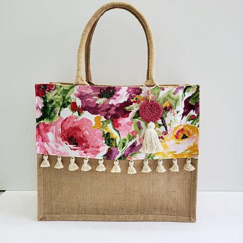 Floral Print Tropical Beach Bag - Medium