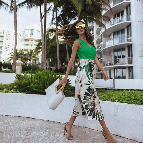 Pleated Skirt -Tropical Garden Print
