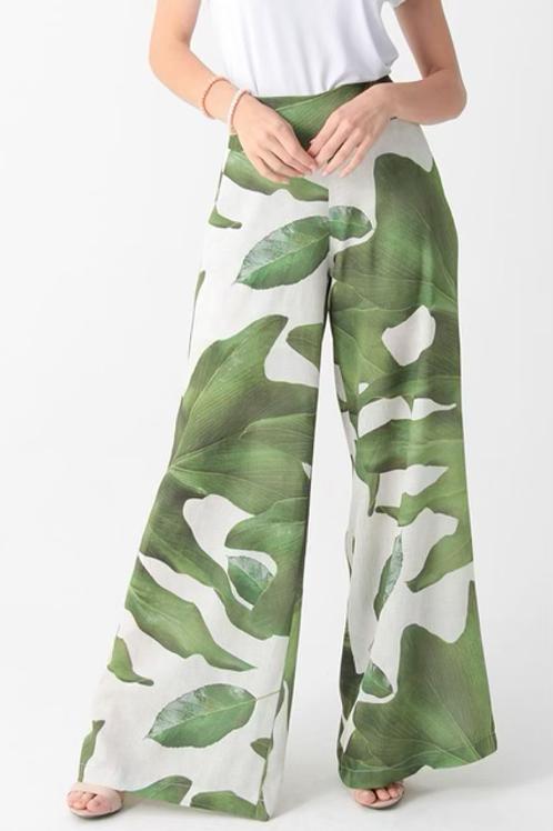 Palazzo Pants - Green Leaf Print