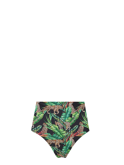 High Waist Bikini Bottom - Midnight Jungle/B&W Dots
