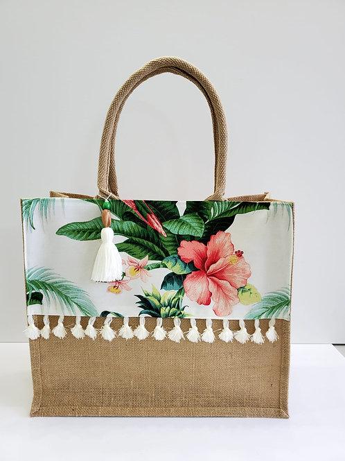 Hibiscus Tropical Beach Bag - Medium