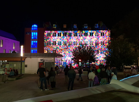 Fassaden Illumination auf der Amberger Luftnacht