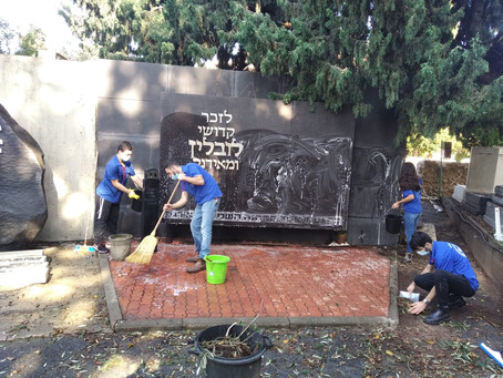 Youth movement cleans and repairs Holocaust memorial monuments throughout the country