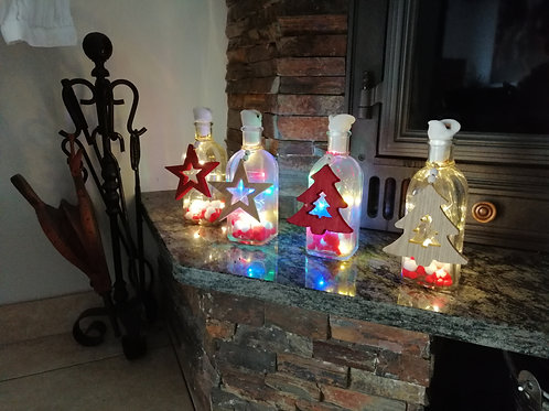Botellita de cristal de Navidad