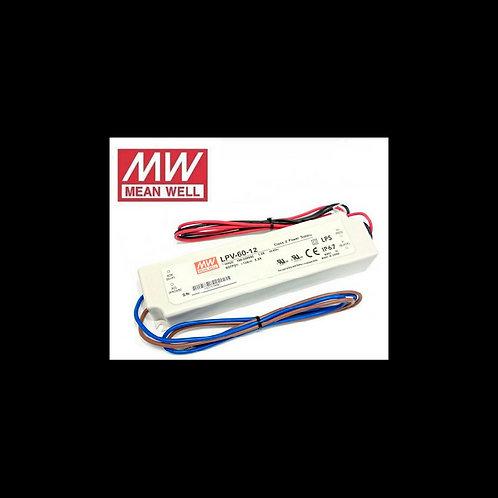 Fuente de alimentación para tiras Led Mean Well 60w 12Vdc IP67