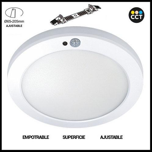 Plafón LED Superficie/Empotrable Ajustable Circular 18W con Sensor de Presencia