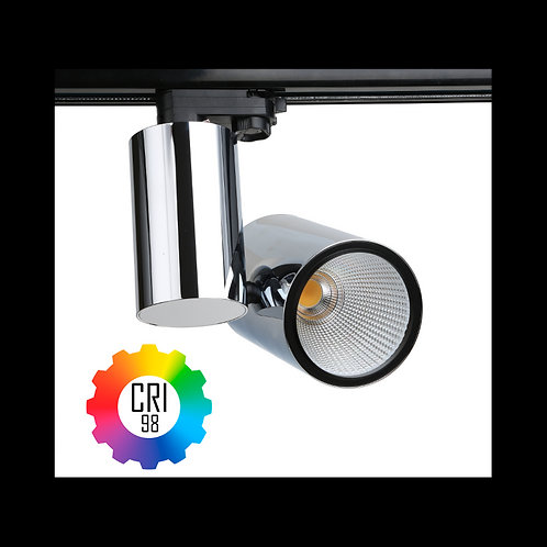 Foco LED para carril TrueColors CRI98 35W Trifásico Cromo
