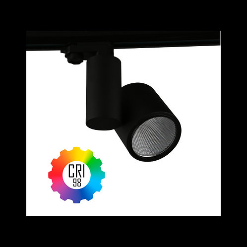 Foco LED para carril TrueColors CRI98 35W Trifásico Negro Mate