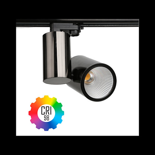 Foco LED para carril TrueColors CRI98 35W Trifásico Negro Grafito