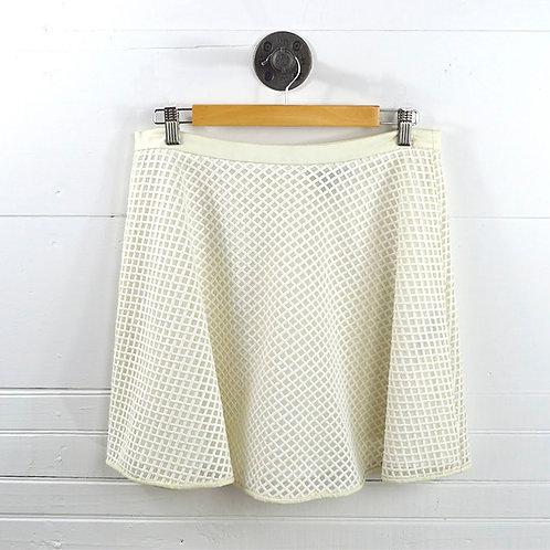Dkny Leather Trim Skater Mini Skirt #131-30