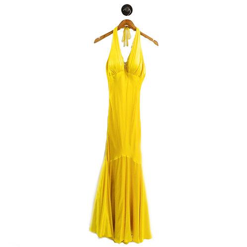 Caché Open Back Silk Halter Gown #195-7
