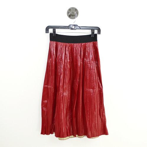 Zara Basic Pleated Patent Midi Skirt #182-3088