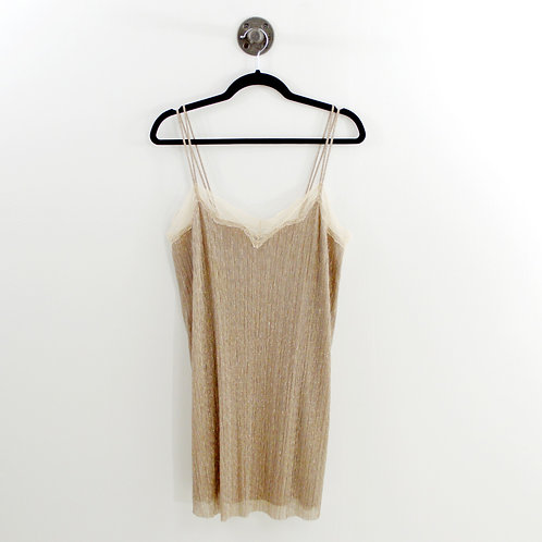 Zara Metallic Lace Trim Slip Dress #177-1831