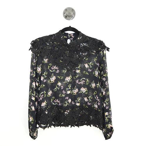 Zara High Neck Sheer Floral Print Blouse #135-3082