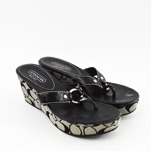 Coach Evita Leather Wedge Sandal #195-2