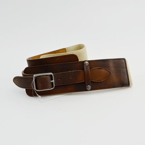 Leather/Canvas Stretch Waist Belt #186-1535