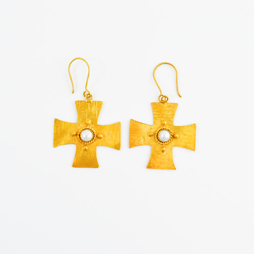 Gold Hammered Cross w/ Pearl Inset Earrings #131-269