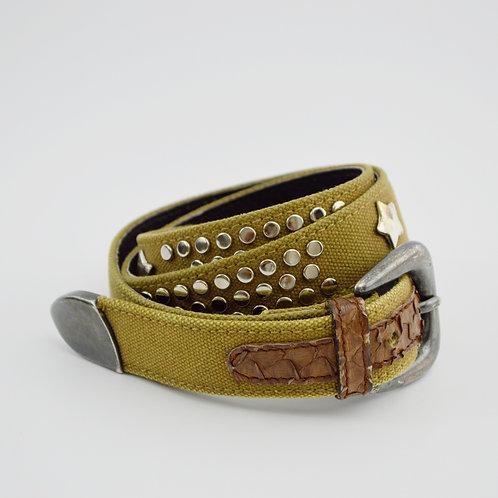 Adolf Studded Canvas/Leather Belt #170-3076