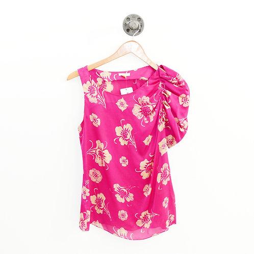 Leifsdottir Floral One Shoulder Silk Blouse #135-186