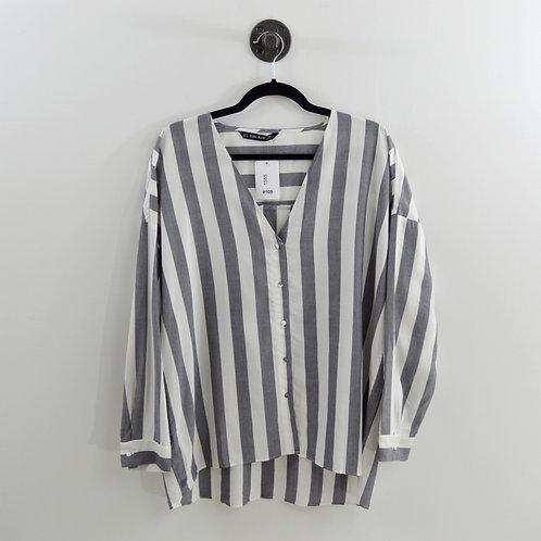Zara Striped Relaxed Button Down #109-1585