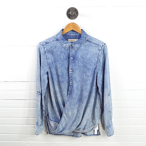 Blank Nyc Acid Wash Button Down Top #123-1332