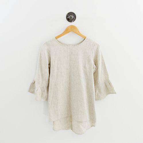 Crown Linen Bell Sleeve Top #169-3059