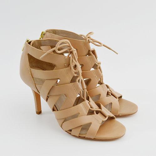 Pour La Victorie Nude Lace-Up Heels #123-334