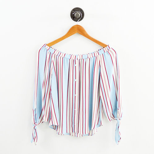 Line + Dot Striped Off The Shoulder Blouse #185-68