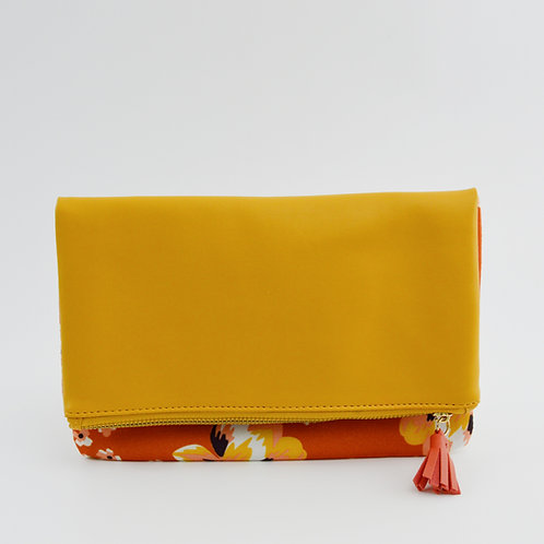 Rachel Pally Leather/ Floral Flap Clutch Bag #186-1548