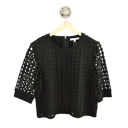 Lela Rose Macrame Lace Knit Crop Top #126-112