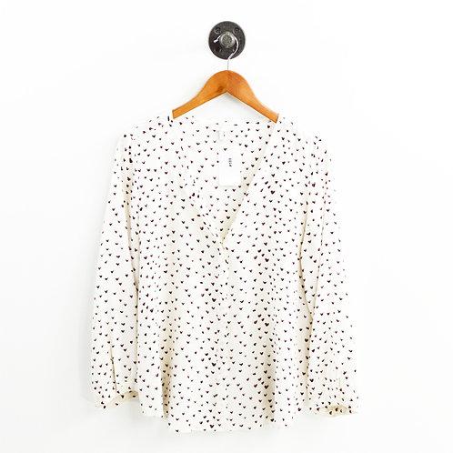 Joie Heart Print Silk Button Down Blouse #189-15