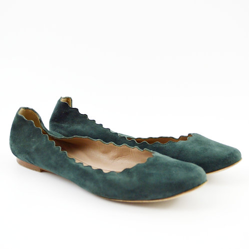 Chloé Lauren Scalloped Suede Ballet Flats #126-125