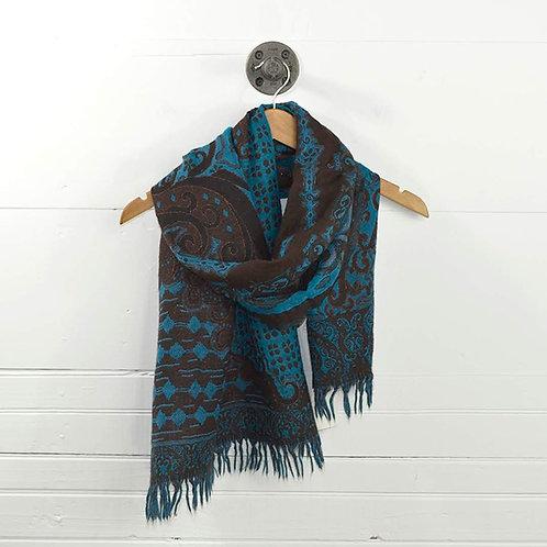 Juliana Collezione Print Wool/Metallic Scarf #142-9