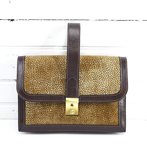 Leather Top Handle Clutch Bag #173-1664