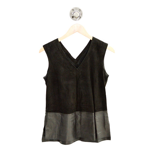 VINCE. Suede + Leather Top #135-138