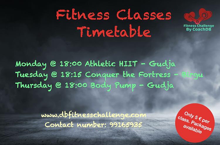 Fitness Challenge Timetable
