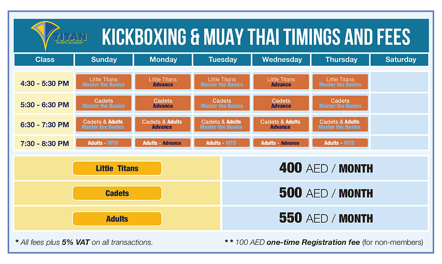 Kickboxing MuayThai timings and fees 202