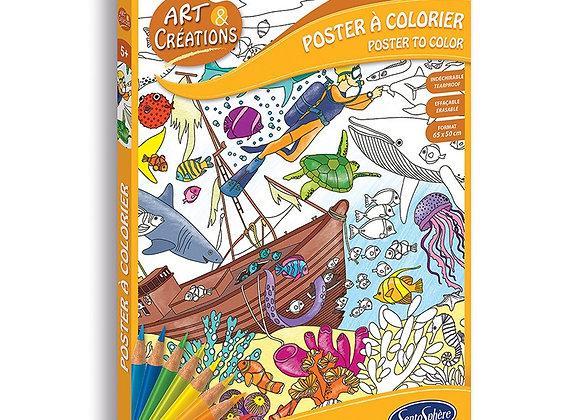Poster à colorier fond marin
