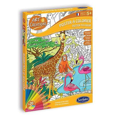 Poster a colorier savane