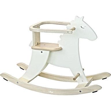 Cheval à bascule blanc ivoire + arceau de sécurité amovible