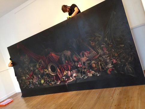 Gran bodegon con trompa. 460x215cm oil on canvas  2015.jpg